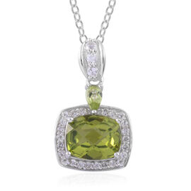 AA Hebei Peridot (Cush 3.25 Ct), White Topaz Pendant With Chain in Platinum Overlay Sterling Silver 3.750 Ct.