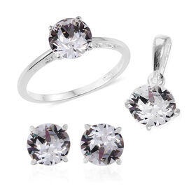 J Francis Crystal from Swarovski - White Colour Crystal (Rnd) Solitaire Ring, Pendant, and Stud Earrings (with Push Back) in Sterling Silver