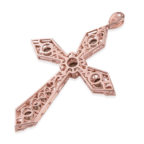 Crystal from Swarovski - AB Crystal (Rnd) Cross Pendant in ION Plated 18K Rose Gold Bond