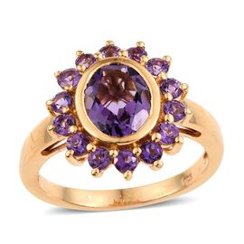 Natural Uruguay Amethyst (Ovl 2.50 Ct) Ring in 14K Gold Overlay Sterling Silver 3.500 Ct.