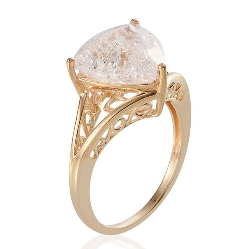 White Crackled Quartz (Trl) Solitaire Ring in 14K Gold Overlay Sterling Silver 6.000 Ct.