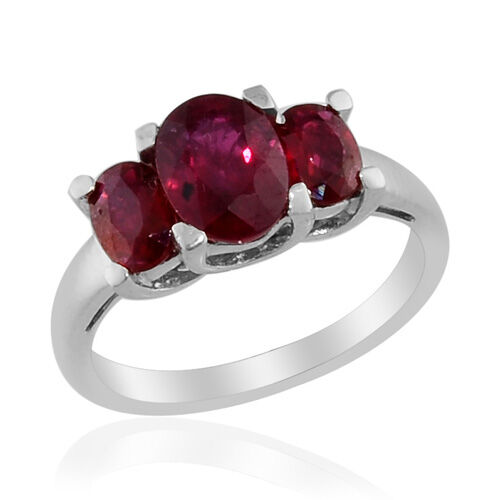 Ruby (Ovl 1.15 Ct) 3 Stone Ring in Platinum Overlay Sterling Silver 2.15 Ct.