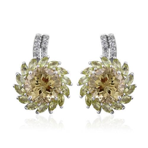 Natural Green Gold Quartz (Rnd), Hebei Peridot and Natural Cambodian Zircon Floral Stud Earrings (with Push Back) in Platinum Overlay Sterling Silver 9.750 Ct.