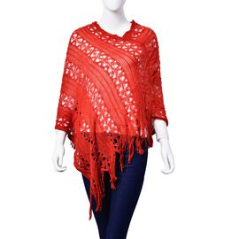 Red Colour Poncho with Tassel (Size 50 Cm)