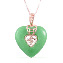 Green Jade (Hrt) Chinese Character AI (Love) Pendant With Chain (Size 18) in Rose Gold Overlay Sterling Silver 19.250 Ct.