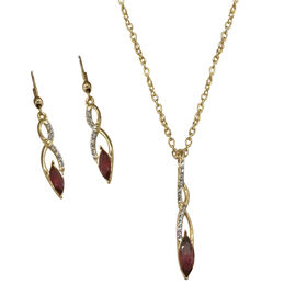 Indian Garnet (Mrq 1.25 Ct), Austrian Crystal Pendant With Chain and Hook Earrings in Gold Bond