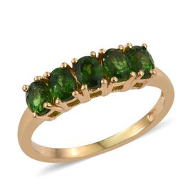 Russian Diopside (Ovl) 5 Stone Ring in 14K Gold Overlay Sterling Silver 0.750 Ct.