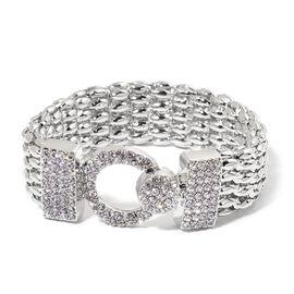 AAA White Austrian Crystal Bracelet (Size 7.5) in Silver Tone