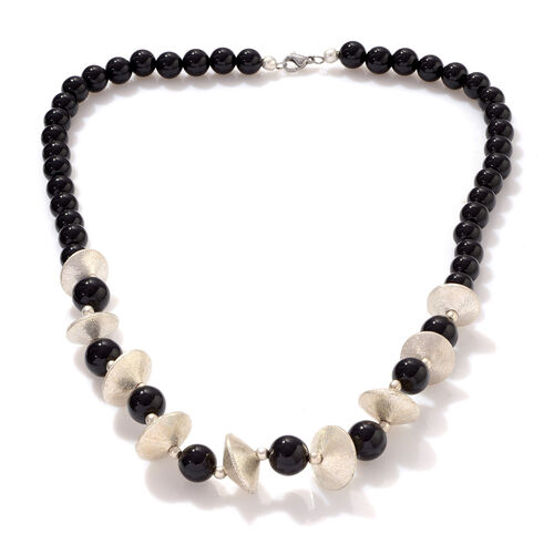 Jewels of India Black Agate Beads Necklace (Size 20) in Silvertone 128.800 Ct.