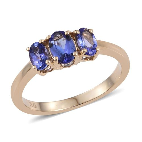 9K Y Gold Tanzanite (Ovl 0.50 Ct) 3 Stone Ring 1.000 Ct.
