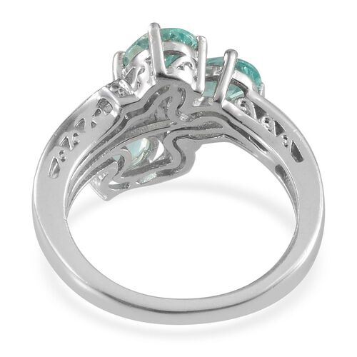 Paraibe Apatite (Ovl), Diamond Crossover Ring in Platinum Overlay Sterling Silver 2.420 Ct.