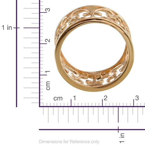 14K Gold Overlay Sterling Silver Band Ring, Silver wt 4.60 Gms.