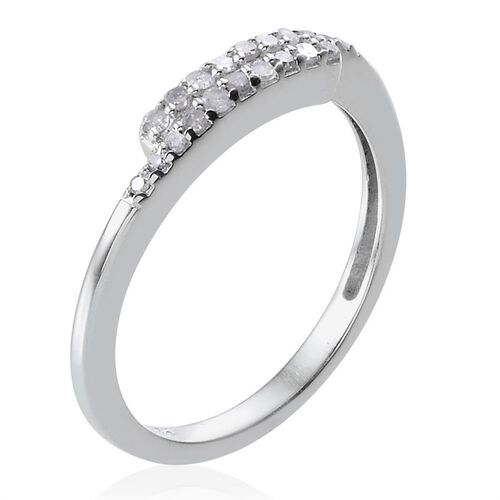 Diamond (Rnd) Crossover Ring in Platinum Overlay Sterling Silver 0.150 Ct.
