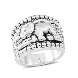 Thai Sterling Silver Elephant Band Ring, Silver wt 5.81 Gms.