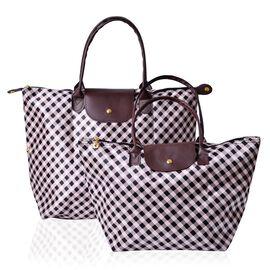 Set of 2 - Black and Beige Colour Checks Pattern Large Handbag (Size 46x37x37x16.5 Cm) and Small Handbag (Size 44x27x26x18 Cm)