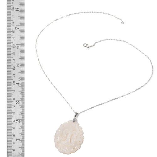 White Shell ZODIAC Libra Pendant With Chain in Sterling Silver