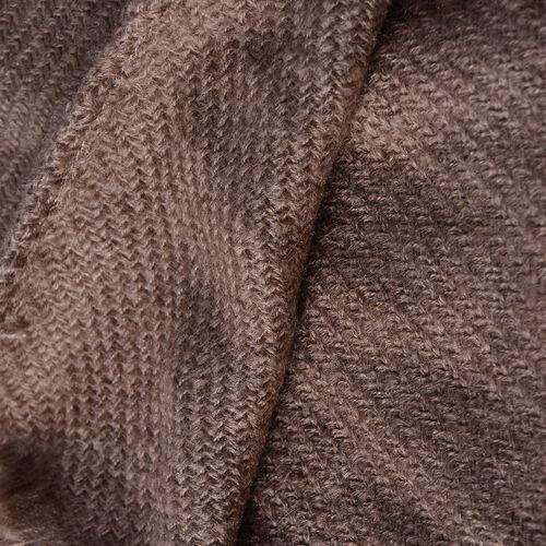 Chocolate Colour Throw-Shawl with Pom Pom (Size 160x130 Cm)