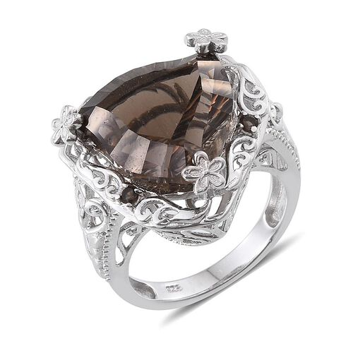 Brazilian Smoky Quartz Ring in Platinum Overlay Sterling Silver 12.500 Ct.