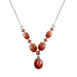 Sri Lankan Sunstone (Ovl 2.75 Ct), Spessartite Garnet and White Topaz Necklace (Size 18) in Platinum Overlay Sterling Silver 10.510 Ct.