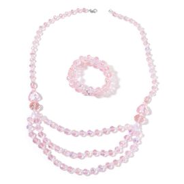 AAA Simulated Pink Sapphire and Simulated White Diamond Necklace (Size 26) and Stretchable Bracelet (Size 6.50) in Silver Tone