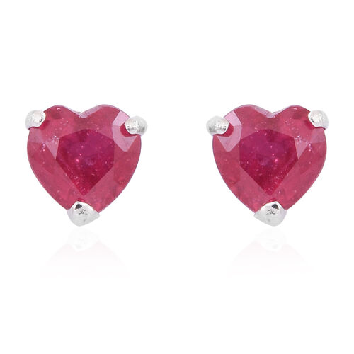 AA African Ruby (Hrt) Stud Earrings (with Push Back) in Rhodium Plated Sterling Silver 2.000 Ct.