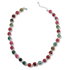 Multi Agate Necklace (Size 18 with 2 inch Extender) in Silver Tone 151.000 Ct.