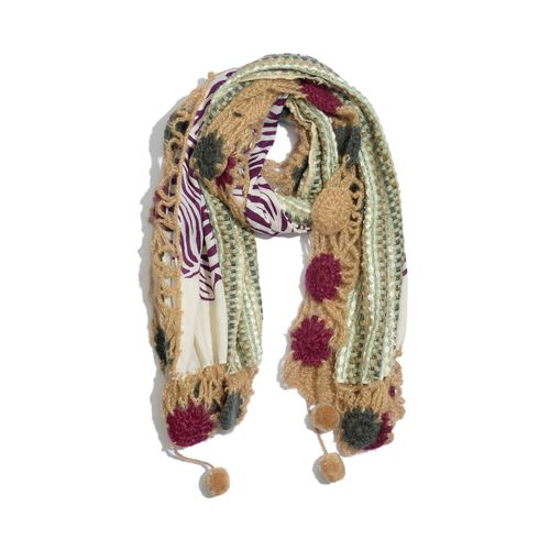 Peach, Cream, Violet and Multi Colour Winter Scarf with Fringes (Size 175x60 Cm)