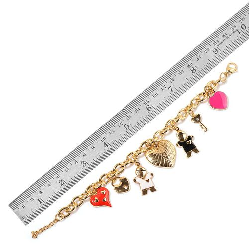 AAA White Austrian Crystal Pink Heart, Key, Boy, Heart, Whole Heart and Red Heart Charm Enameled Bracelet (Size 7.5) in ION Plated Gold Stainless Steel