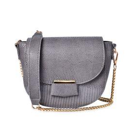 Half Moon Shape Grey Colour Crossbody Bag (Size 19x15x7 Cm)
