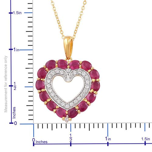 African Ruby (Ovl), White Zircon Heart Pendant with Chain in 14K Gold Overlay Sterling Silver 4.020 Ct.