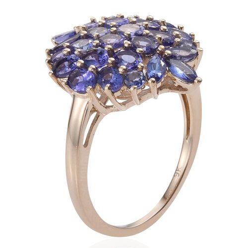 9K Y Gold Tanzanite (Ovl) Cluster Ring 3.500 Ct.