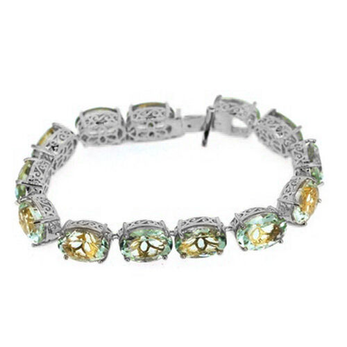 Green Amethyst (Ovl) Bracelet in Rhodium Plated Sterling Silver (Size 7) 65.000 Ct.