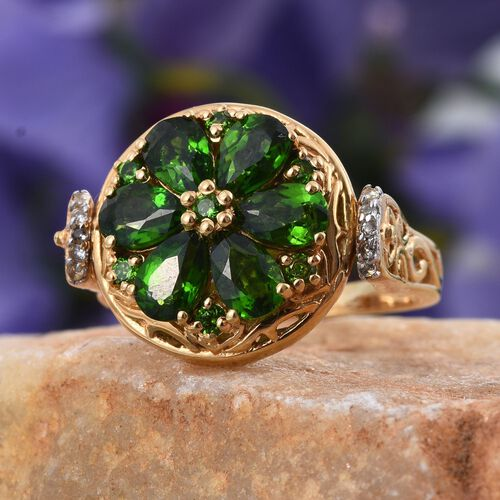Royal Jaipur Russian Diopside (Pear), Burmese Ruby and White Topaz Ring in 14K Gold Overlay Sterling Silver 3.400 Ct.