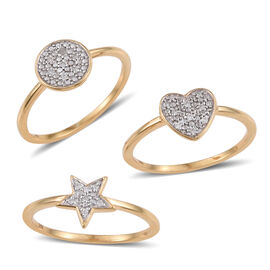 Set of 3 - Diamond (Rnd) Star, Moon and Heart Ring in 14K Gold Overlay Sterling Silver 0.100 Ct.