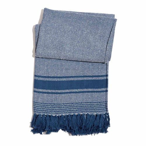 100% Cotton Chevron Pattern Blue and White Colour Throw with Fringes (Size 150x125 Cm)