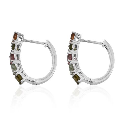 Rainbow Tourmaline (Rnd) Hoop Earrings (with Clasp) in Platinum Overlay Sterling Silver 2.500 Ct.