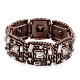 White Austrian Crystal and White Glass Stretchable Bracelet (Size 7.5) in Rose Gold Tone