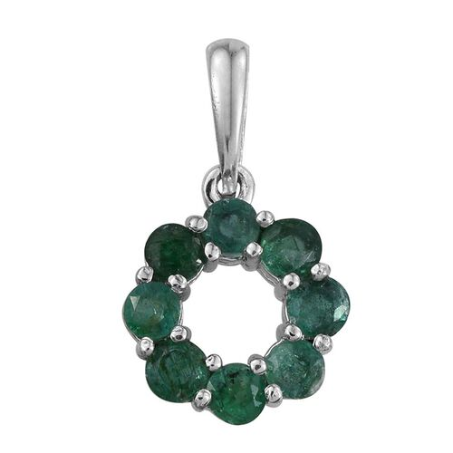 Brazilian Emerald (Rnd) Circle of Life Pendant in Platinum Overlay Sterling Silver 0.750 Ct.