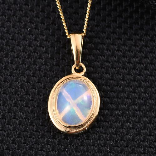 Ethiopian Welo Opal (Ovl) Solitaire Pendant With Chain in 14K Gold Overlay Sterling Silver 1.000 Ct.