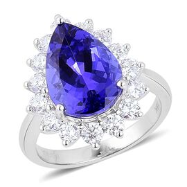 ILIANA 18K W Gold AAA Tanzanite (Pear 6.75 Ct), Diamond Ring 8.000 Ct.