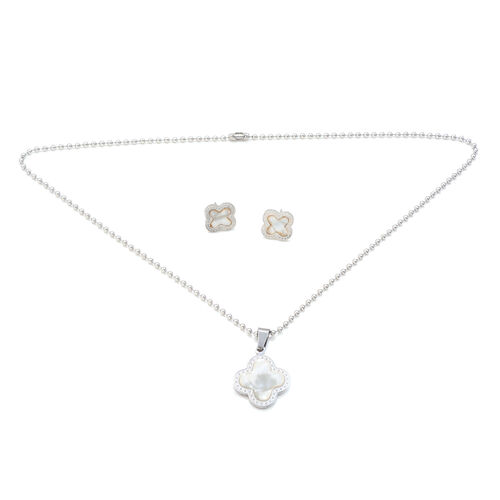 Close Out Deal Floral Pendant with Bead Chain and Stud Earrings in Stainless Steel