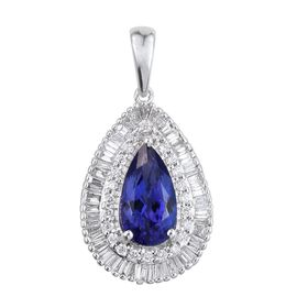ILIANA 18K White Gold 3.25 Carat AAA Tanzanite Pear Halo Pendant, Diamond SI G-H.