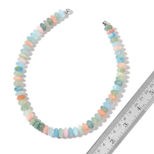 One Off Deal- AAA Rare Size Espirito Santo Aquamarine and Marropino Morganite Necklace (Size 20) with Magnetic Clasp in Rhodium Plated Sterling Silver 750.000 Ct.