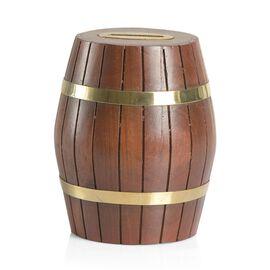 (Option 2) Wooden Money Box Barrel Shape (Size 35x13 Cm)