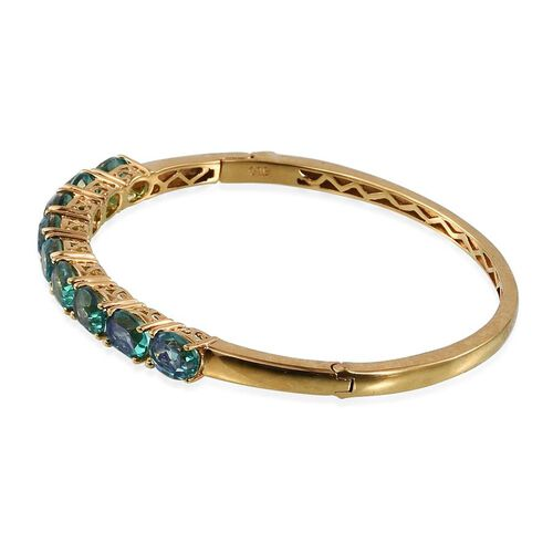 Peacock Quartz (Ovl) Bangle (Size 7.5) in ION Plated 18K Yellow Gold Bond 13.000 Ct.