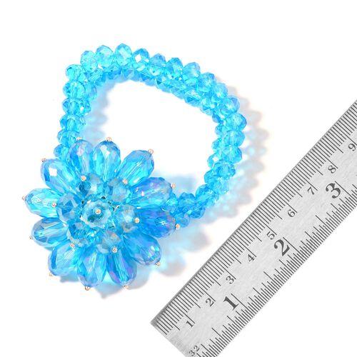Simulated Aquamarine Floral Stretchable Bracelet (Size 6.5)