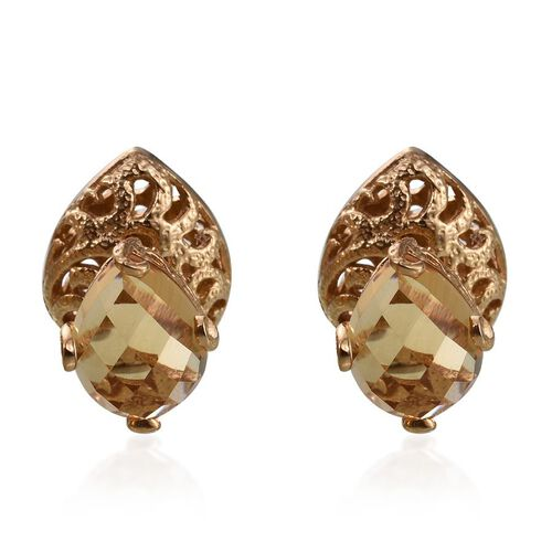 GP Citrine (Pear), Kanchanaburi Blue Sapphire Stud Earrings in 14K Gold Overlay Sterling Silver 7.500 Ct.