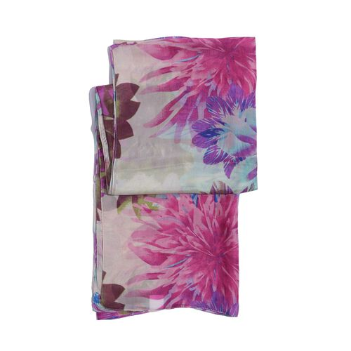 100% Mulberry Silk White and Multi Colour Floral Print Scarf (Size 180 x100 Cm)