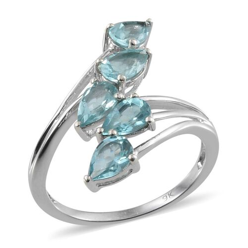 9K W Gold Paraibe Apatite (Pear) 5 Stone Crossover Ring 2.250 Ct.