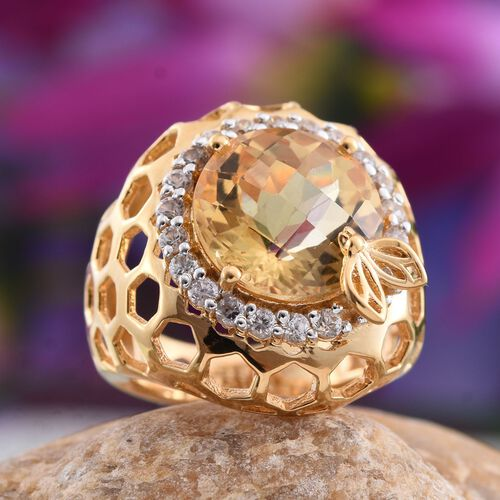 Stefy Citrine (Rnd 6.10 Ct), Pink Sapphire and Natural Cambodian Zircon Ring in 14K Gold Overlay Sterling Silver 7.270 Ct. Silver Wt.8.60 Gms